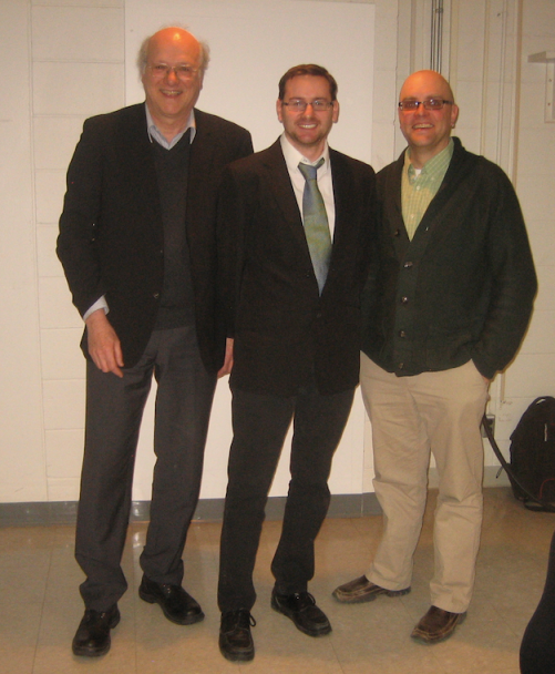 Charles Vincent (l), Raphaël (c) and me (r), just after the Defence (17 March 2014)
