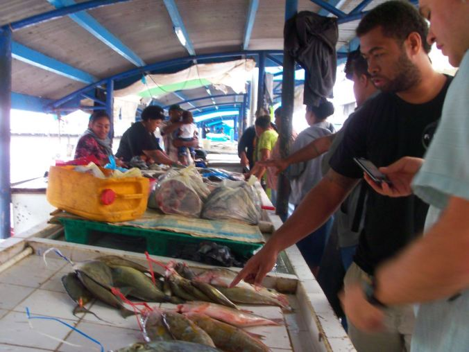 Active Learning: Watisoni Lalavanua (l) and Josh Drew (r) [tweeting!] at the Suva Fish Market, identifying species and talking about the best way to manage fisheries based in their life histories.